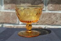 Vintage Amber Glass Chip Dip Candy Nut Footed Compote dish w/Thumbprint pattern