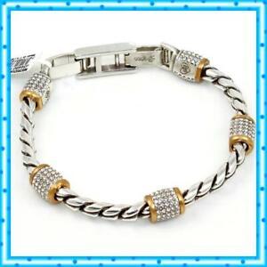 Brighton Meridian Silver Gold Crystal Bracelet NWT $98