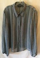 New York Co womens blouse size XL blue brown pink semi sheer striped shirt