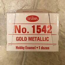 """Testors Hobby Emamel 1 Dozen (12 Bottles) No. 1542 """"Lime Gold"""" Gold Metallic NEW"""