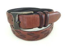 Brown Leather Belt Weave Braided, Neiman Marcus, Men's 34