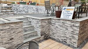 Grey & White Quartz Mixed 3D Split Face Wall Cladding Tiles - Sparkly - Sample