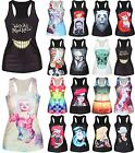 Women Vest Tank Tops Print Sleeveless Blouse Gothic Punk Clubwear Party T-Shirt