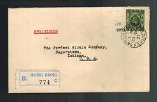 1937 Hong Kong to USA Cover Red Wax Seal