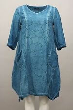 RISONA SPRING SUMMER TIE DYE TUNIC POCKET DRESS EMBOSS PETROL TURQ Sz 1 US 12