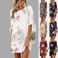Womens Floral Long Tops Blouse Ladies Summer Casual Beach Tunic Dress Plus Size