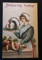 Thanksgiving~Pilgrim Lady with~Turkey~Fruits~Antique~Postcard~a563