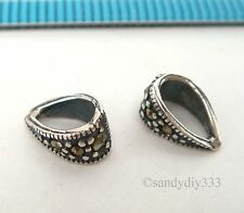 2x STERLING SILVER MARCASITE PENDANT SLIDE BAIL CONNECTOR BEAD 3.4mm hole #2319