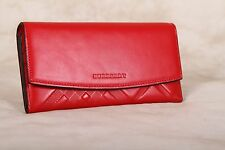 Authentic New BURBERRY Embossed Check Red Leather Continental Wallet ITALY $495