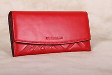 Authentic New BURBERRY Embossed Check Red Leather Continental Wallet ITALY
