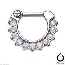 "Septum Nose Clicker Petite w/Opalite Pink Gemmed 16 Gauge 5/16"" Steel Body Jewel"