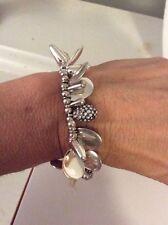 NWT Kenneth Cole New York Silver-Tone  Bead Stretch Bracelet $42 #106c