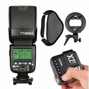 Godox TT685F TTL HSS Blitz +X2T-F Trigger für Fujifilm +60*60cm Softbox & Halter