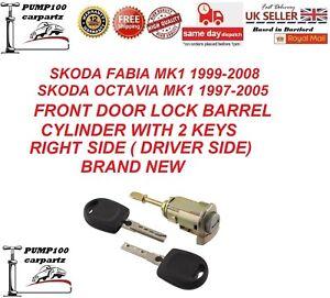 SKODA FABIA MK1 OCTAVIA MK1 FRONT  DOOR RIGHT LOCK BARREL CYLINDER & 2 KEYS