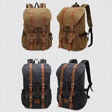 Men's Vintage Military Canvas Leather Travel Hiking Backpack Rucksack School Bag