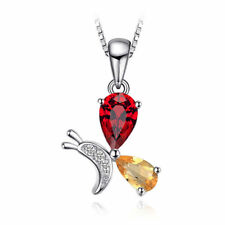 11mm Natural Deep Red Garnet & Citrine Butterfly Pendant Necklace 925 Silver