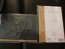 Hallmark Signature BLANK Greeting Card/Envelope ~ Gold Metal Wire HELLO