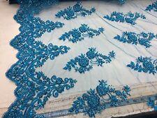 Elegant Turquoise Hand Beaded Mesh Lace.Wedding/Bridal Beaded Fabric.36x50inches