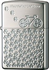 Zippo Bicycle Four-Leaf Clover Both Sides Etching Silver Plating Japan Limited