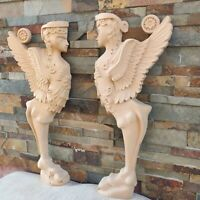 Wood Carved Gothic Decor Wall Double Door Set Balusters Fireplace Corbel Statue