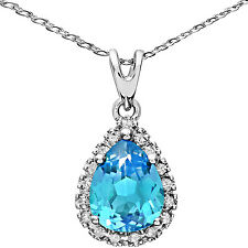 Naava 9ct White Gold Blue Topaz and Diamonds Teardrop Pendant+46cm Chain.