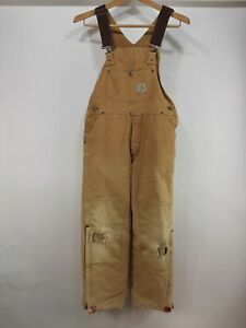 Vintage Carhartt Brown Duck Canvas Double Knee Bibs Insulated Overalls Large