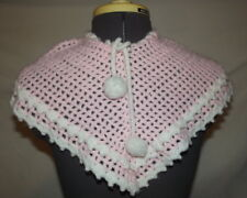 Hand Crochet PINK girl's baby infant shawl wrap (C53)