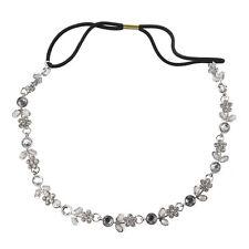 Women RhInestone Crystal Flower Hair Band / Elastic Headband-Silver M3S0 H3T1