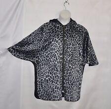 Joan Rivers Reversible Hooded Trench Coat Size S Black/Grey Animal Print