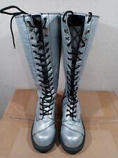 Women's NaNa Metallic Silver Knee High Lace Up Side Zipper Platform Boots Sz 10