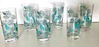 Set 6 Vtg Glassware Marcrest Turquoise Blue Spruce Pinecone Tumblers Glasses MCM