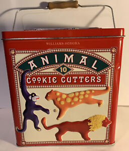 WILLIAMS SONOMA ANIMAL COOKIE CUTTERS IN TIN VINTAGE 2002
