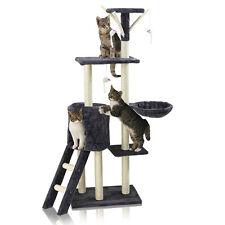Cat Scratching Tree Climbing Post Pet Activity Toy Playing Centre Bed 115cm Grey