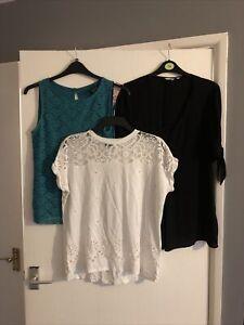 Ladies - Women's - Clothes Bundle Size Uk 14/L -Eur 42 -3 X Top Blouse Bundle ❤️
