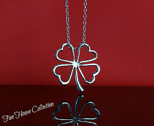 Clover Necklace Four Leaf Pendant 40 cm Silver Link Chain