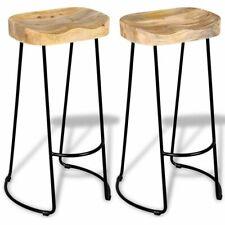 vidaXL 2x Solid Mango Wood Gavin Bar Stools Home Kitchen Dining Room Chair
