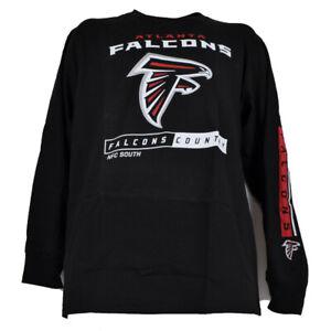 NFL Atlanta Falcons NFC South Guard Mens Adult Black Tshirt Tee Long Sleeve