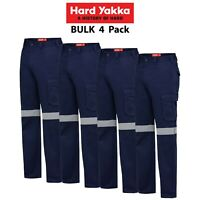 Mens Hard Yakka Gen Y Cargo Cotton Drill 4 PACK Pants Safety Taped Tough Y02750
