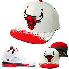 Mitchell & Ness NBA Chicago Bulls Snapback Hat Air Jordan Retro 5 Fire Red Cap