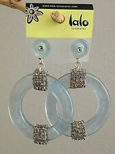 ORNA LALO Treasures Frosted Grey Blue EARRINGS L'inverno V Handcrafted