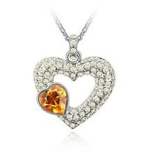 18K GOLD GP Made With SWAROVSKI Elements CRYSTAL Double Heart Yellow NECKLACE