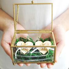 Glass Wedding Ring Box Custom Geometric Ring Box, Rustic Wedding Ring Bearer Box