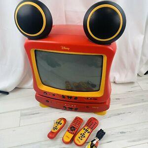 "Disney Mickey Mouse CRT Color 13"" TV Speaker Ears DVD Player DT1300-C WORKS"