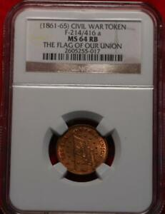 (1861-65) Civil War Token F-214/416a The Flag Of Our Union NGC Graded MS 64 RB