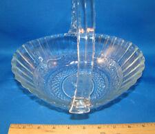 Sandwich Glass Basket with Plastic Handle KIG Malaysia FLEUR DE LIS Vintage @23