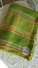 Vintage Retro Pure wool Blanket Lime Check 155 x 210cm single Hampshire House