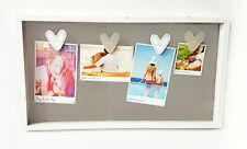 Clothes Line Style White Quadruple Four Peg Display Box Photo Picture Frame