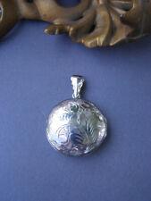 Sterling Silver Picture Locket 925 Engraved Floral Leaf Design