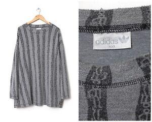 90s Vintage Mens ADIDAS ORIGINALS Mock Neck Sweatshirt Grey Size 2XL