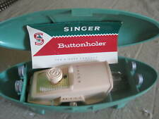 New listing Singer Sewing Machine-Vtg. Buttonolder With 4 Templets, & Manual-(See Pics)